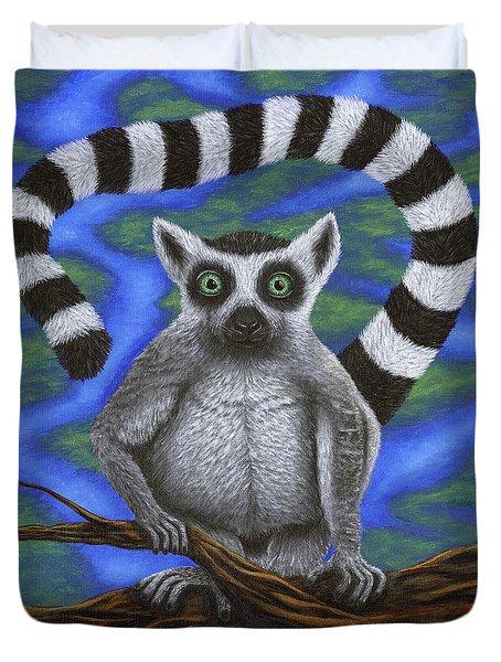 Happy Lemur Duvet Cover