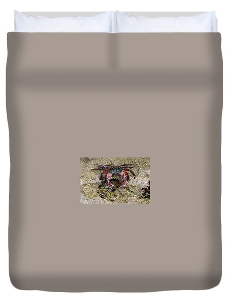 Duvet Cover featuring the photograph Happy Little Crab by Brandy Little