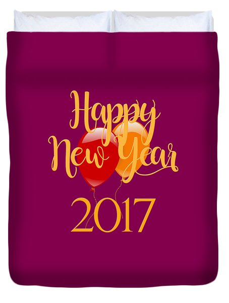 Duvet Cover featuring the digital art Happy New Year 2017 With Balloons by Heidi Hermes