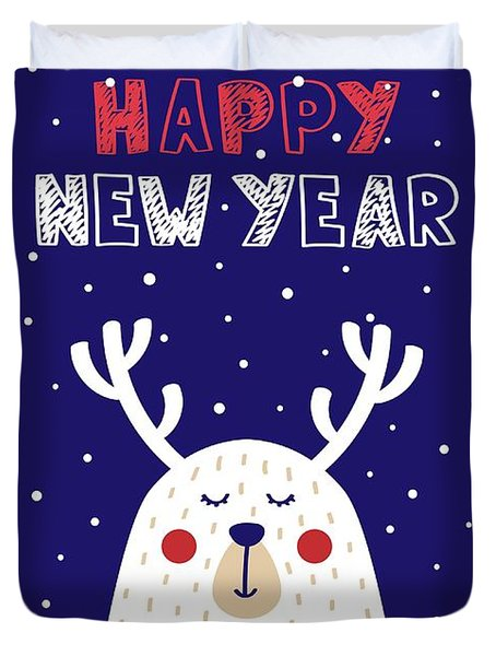 Happy New Year With Deer Duvet Cover
