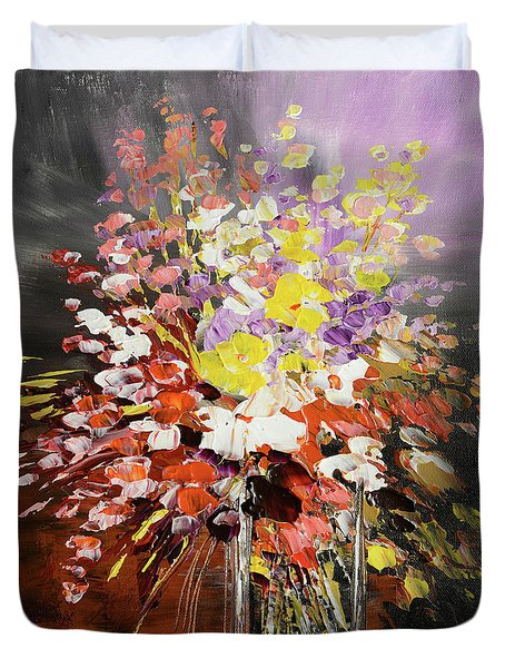 Duvet Cover featuring the painting Happy Occasion by Tatiana Iliina