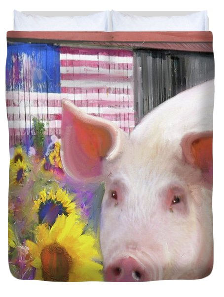 Happy Pig  Duvet Cover