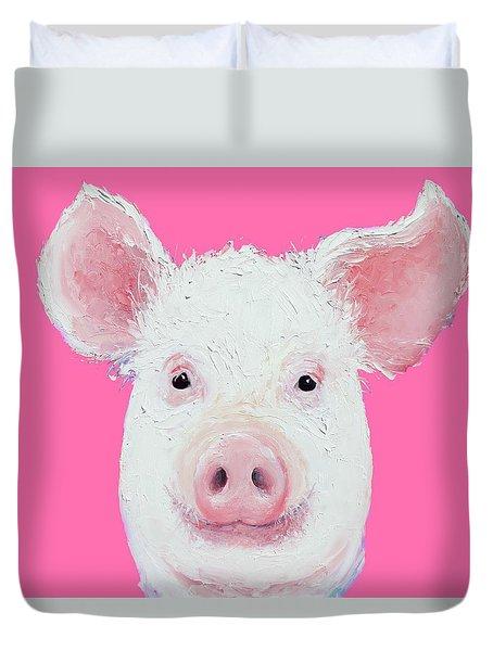 Happy Pig Portrait Duvet Cover by Jan Matson