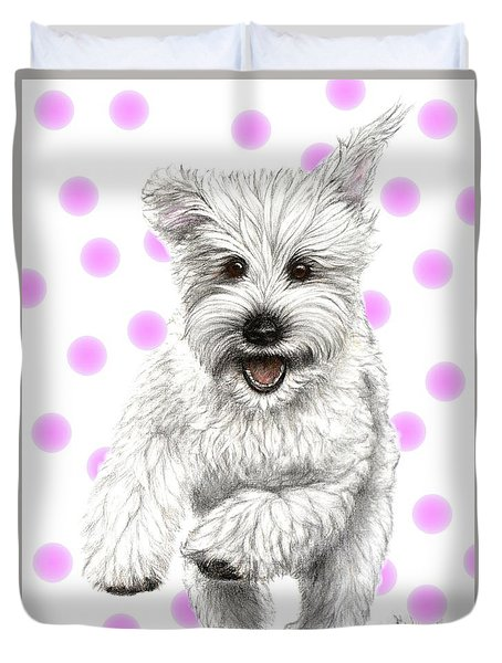 Duvet Cover featuring the drawing Happy Pink Polka Dots Doggy  by Heidi Kriel