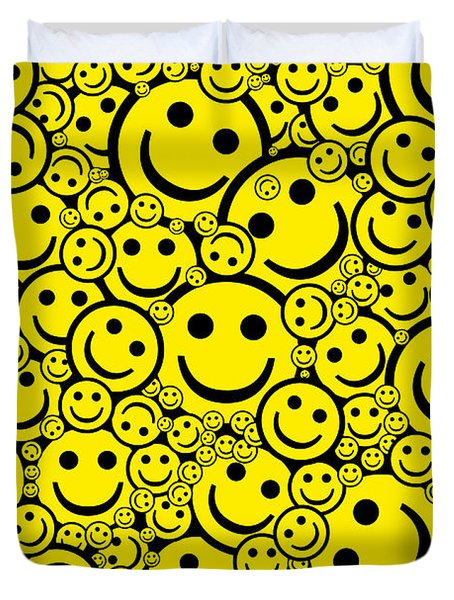 Happy Smiley Faces Duvet Cover by Tim Gainey