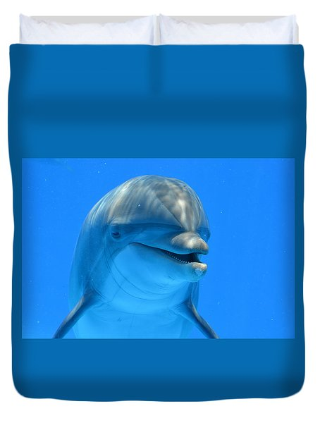Happy Smiling Dolphin Duvet Cover