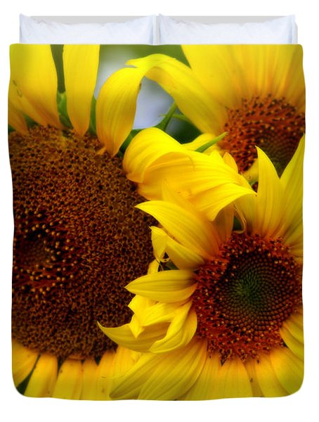 Duvet Cover featuring the photograph Happy Sunflowers by Kay Novy