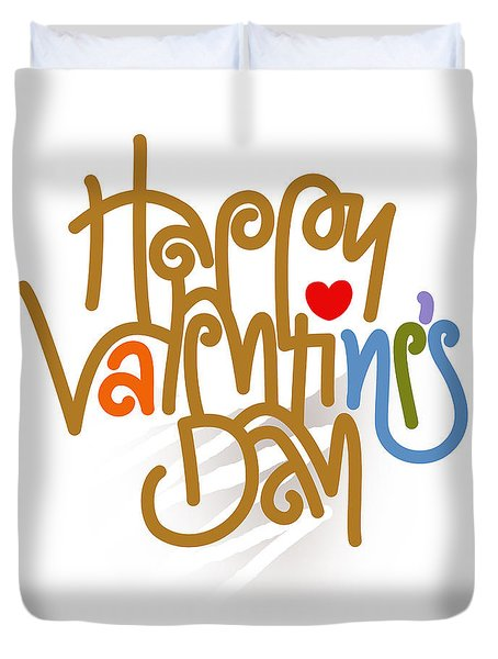 Happy Valentine's Day Poster Duvet Cover