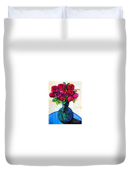 Duvet Cover featuring the painting Happy Valentine's Day by Priti Lathia