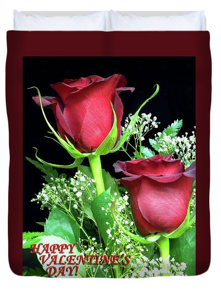 Duvet Cover featuring the photograph Happy Valentines Day by Sandi OReilly
