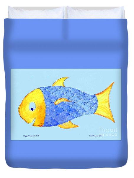 Happy Watercolor Fish Duvet Cover