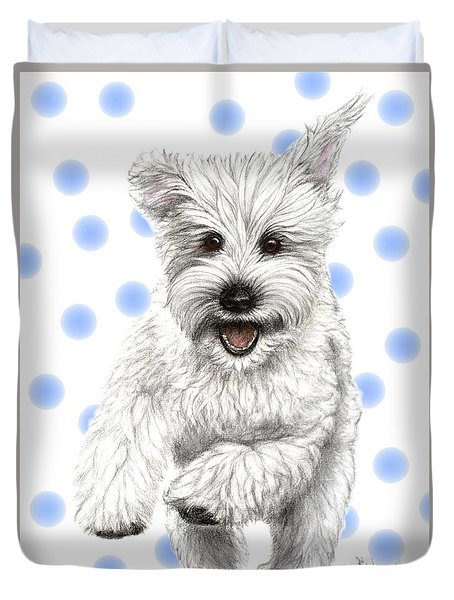 Duvet Cover featuring the drawing Happy Blue Polka Dots Doggy by Heidi Kriel