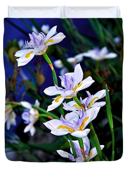 Happy Wild Iris Duvet Cover by Kaye Menner