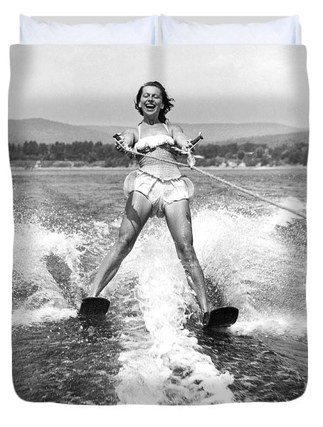 Happy Woman Water Skier Duvet Cover