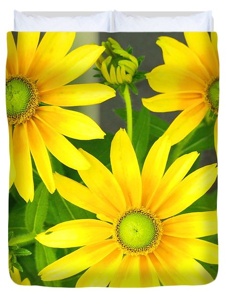 Happy Yellow Summer Cone Flowers In The Garden Duvet Cover