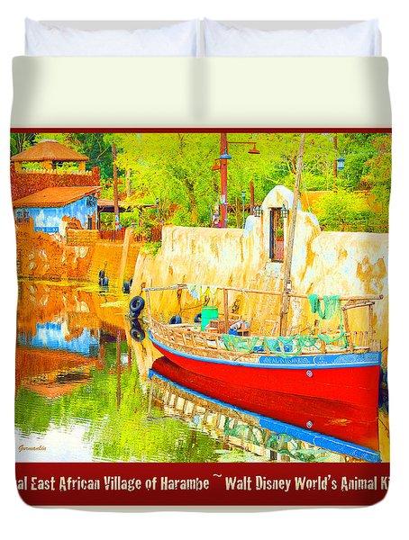 Duvet Cover featuring the digital art Harambe Fictional East African Village Walt Disney World by A Gurmankin