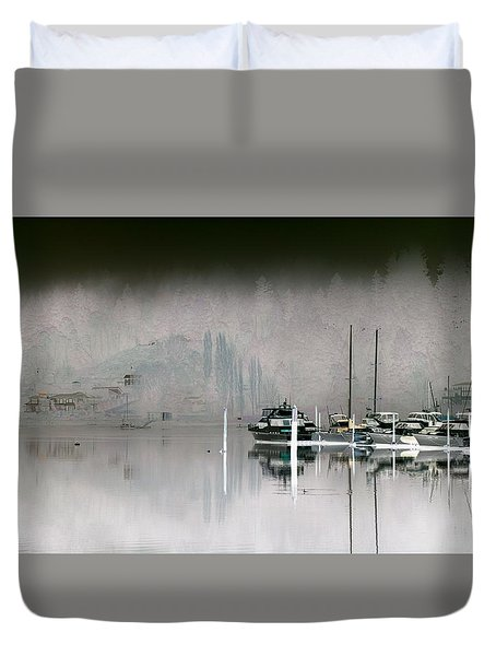 Harbor And Boats Duvet Cover