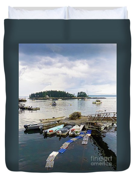 Harbor At Georgetown Five Islands, Georgetown, Maine #60550 Duvet Cover