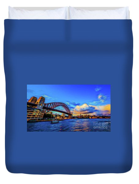 Duvet Cover featuring the photograph Harbor Bridge by Perry Webster