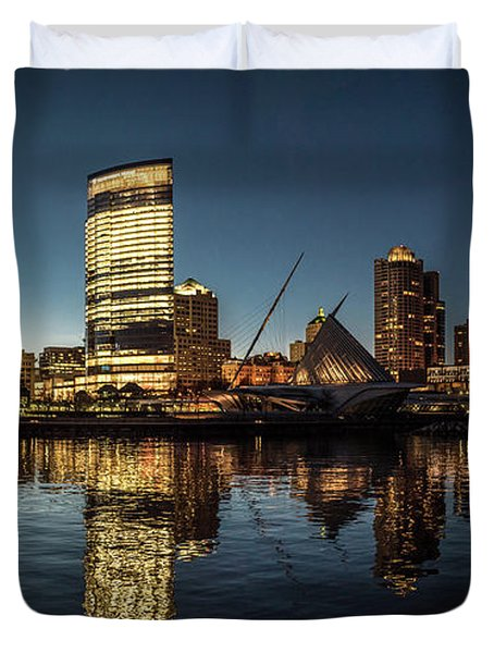 Duvet Cover featuring the photograph Harbor House View by Randy Scherkenbach