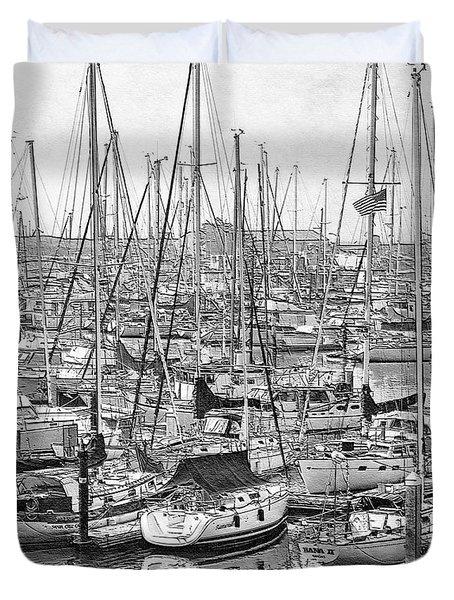 Duvet Cover featuring the digital art Harbor II by Visual Artist Frank Bonilla