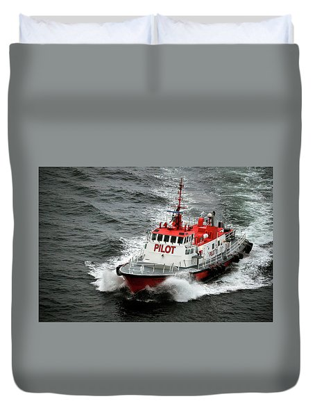 Duvet Cover featuring the photograph Harbor Master Pilot by Allen Carroll