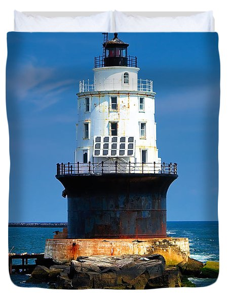 Harbor Of Refuge Lighthouse Duvet Cover
