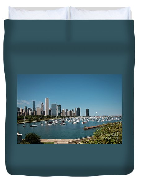 Harbor Parking In Chicago Duvet Cover