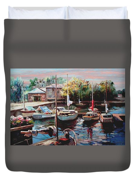 Harbor Sailboats At Rest Duvet Cover