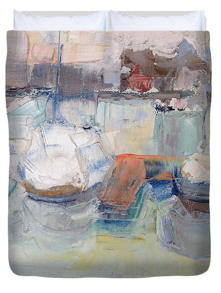 Harbor Sailboats Duvet Cover