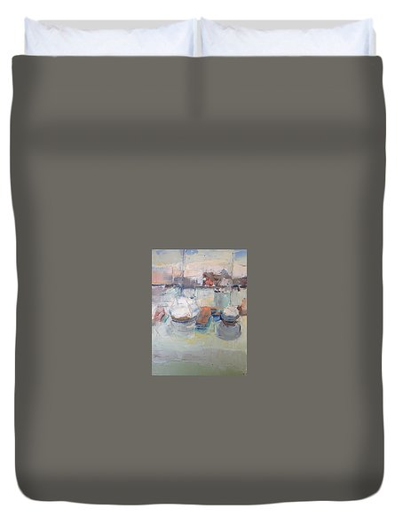 Harbor Sailboats Duvet Cover