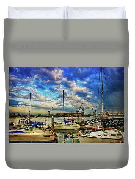 Harbor Scene Duvet Cover