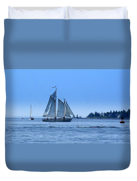 Harbor Schooner Duvet Cover by Lois Lepisto