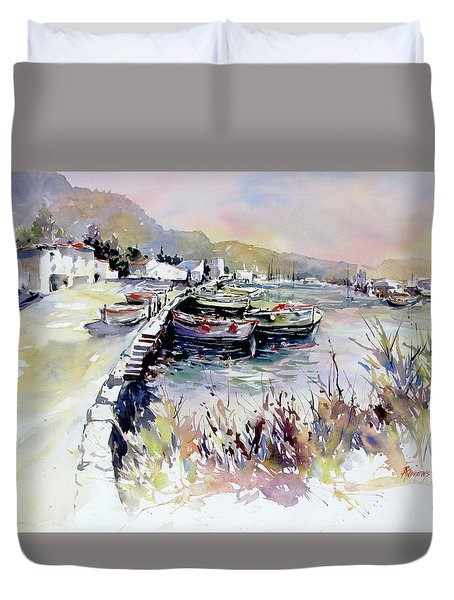 Harbor Shapes Duvet Cover by Rae Andrews