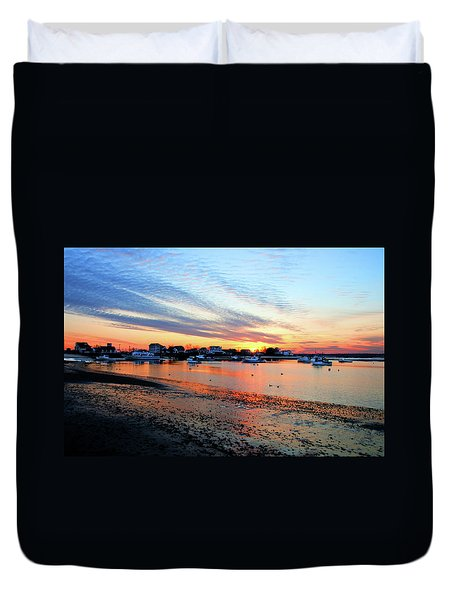 Duvet Cover featuring the photograph Harbor Sunset At Low Tide by Wayne Marshall Chase