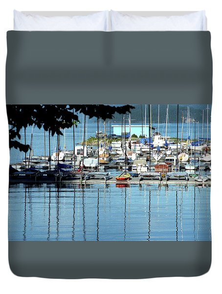 Duvet Cover featuring the photograph Harbor View by Emanuel Tanjala
