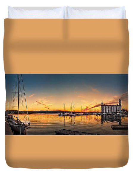 Harbour At Sunset Duvet Cover