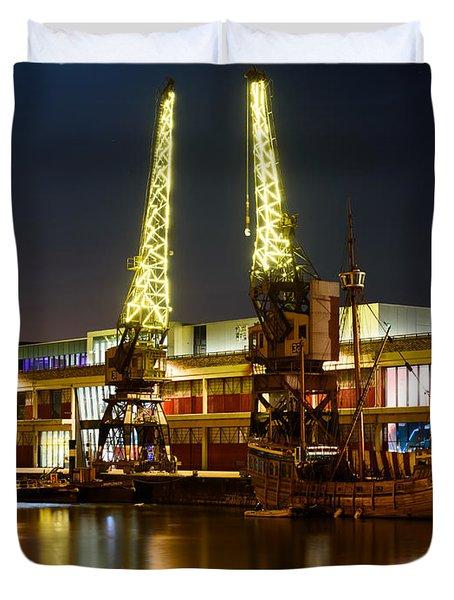 Harbour Cranes Duvet Cover