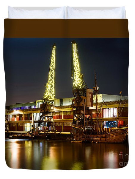 Harbour Cranes Duvet Cover
