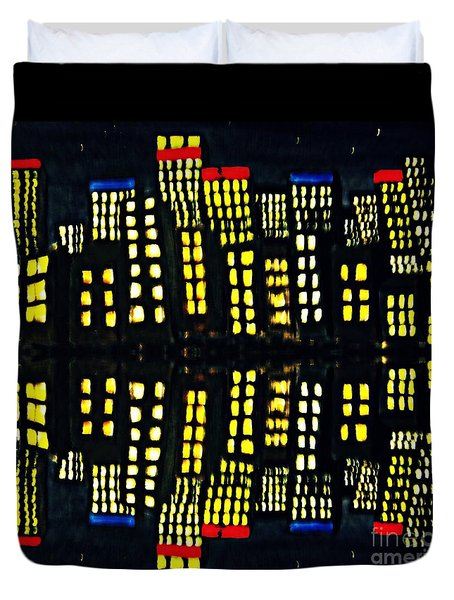 Harbour Lights Reflected 1 Duvet Cover