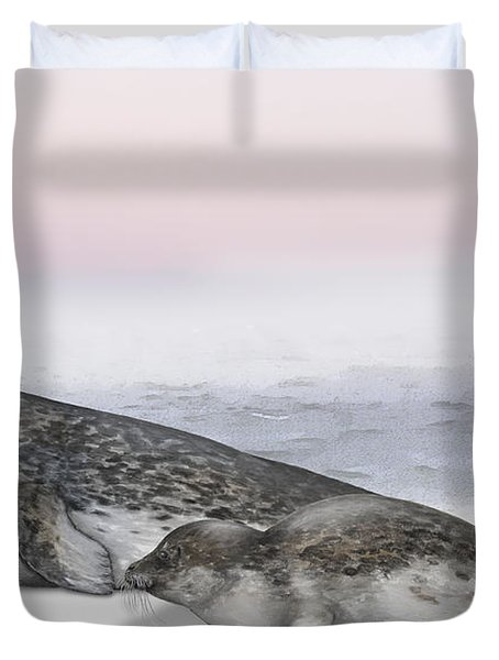 Duvet Cover featuring the painting Harbour Seal Common Seal Phoca Vitulina - Marine Mammals - Seehund by Urft Valley Art