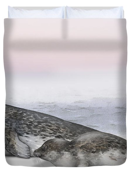 Harbour Seal Common Seal Phoca Vitulina - Marine Mammals - Seehund Duvet Cover