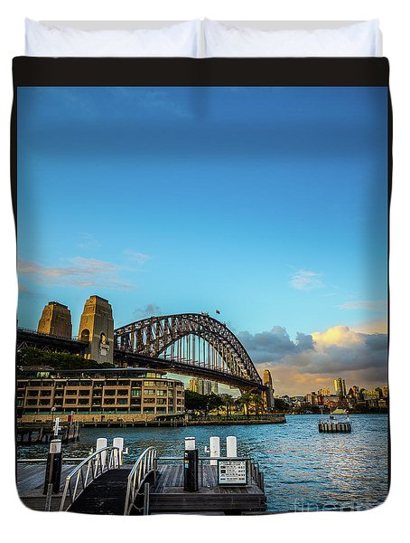 Duvet Cover featuring the photograph Harbour Sky by Perry Webster