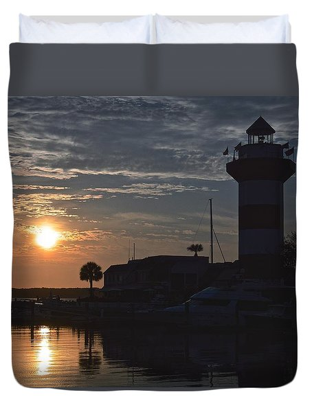 Harbour Town At Sunset Duvet Cover