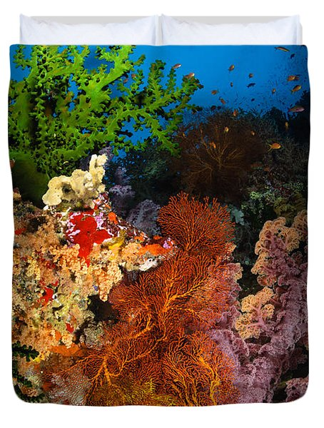 Hard Coral And Soft Coral Seascape Duvet Cover by Todd Winner