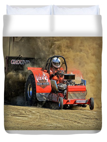 Hard Drive Pulling Tractor Duvet Cover by Mike Martin