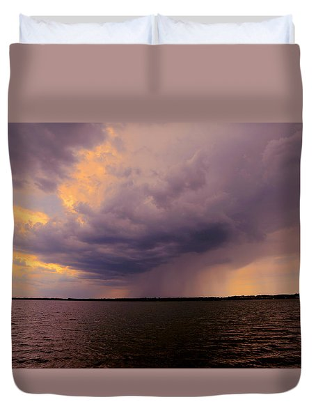 Hard Rain's Gonna Fall Duvet Cover by Lowlight Images
