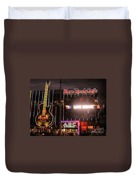 Hard Rock Cafe Las Vegas Strip At Night Duvet Cover by RicardMN Photography