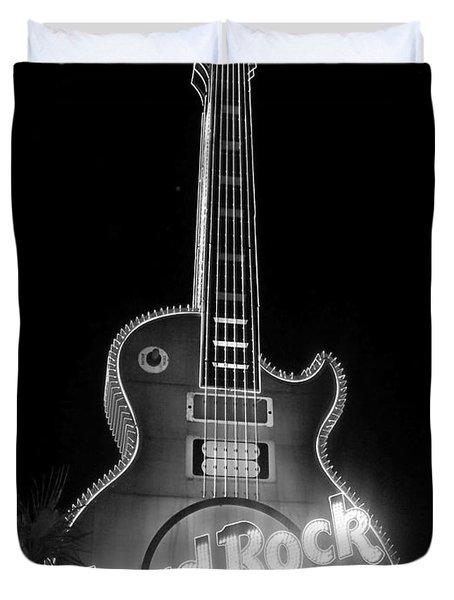 Hard Rock Cafe Sign B-w Duvet Cover