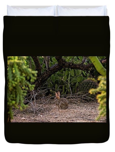 Duvet Cover featuring the photograph Hare Habitat H22 by Mark Myhaver